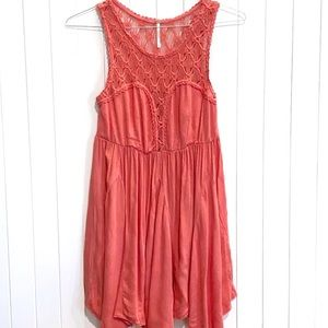 Free People Coral Dress w/ Crochet Detail Small.